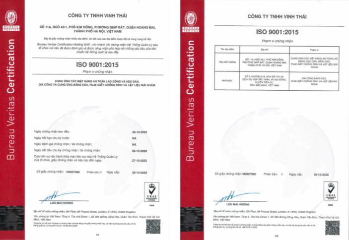 Công ty TNHH Vinh Thái nhận chứng nhận tiêu chuẩn ISO 9001:2015